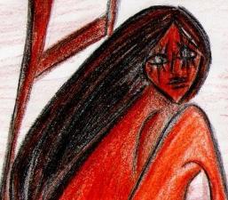 Desenho feito por Lara, no início da adolescência.